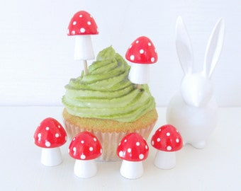 Wooden Cupcake Topper - Red Mini Mushrooms / Toadstools - set of 6