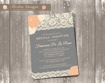 Rose, Blush Lace Bridal Shower Invite (Lace, Roses, Charcoal) DIGITAL FILE