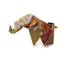 Origami ring African or Asian elephant in Burgundy and Golden Japanese paper