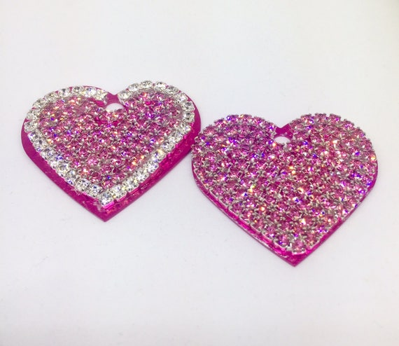 Large Engravable Personalized Dog Pet Cat Pink Heart Engraved ID Tags - High Quality Crystal Rhinestone - 5 Fonts!