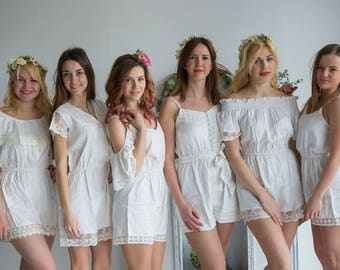Lace Trimmed Solid White Mismatched Style Rompers by Silkandmore - Alternative to Bridesmaids Robes, Bridesmaids Gifts, Bridesmaids Rompers