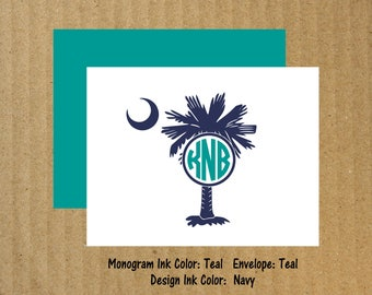 Palmetto Note Cards, Set of 10, Palmetto Moon Monogram Note Cards, South Carolina Monogram, Palmetto Moon Thank You Cards, Thank You Cards