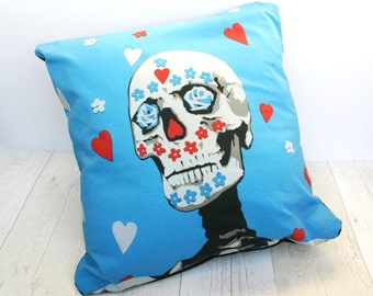 Day of the Dead Pillow Cover - Mexican Dia de Los Muertos Cushion Cover - Sugar Skull Cushion - Day of the Dead Pillow - Mexican Home Decor