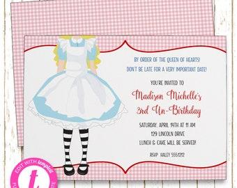 Alice in Wonderland Invitation | Wonderland Tea Party  | Printable Editable Digital PDF File | Templett | KBI646DIY