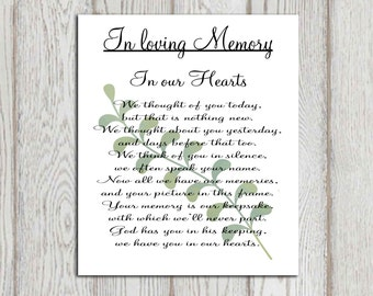 Memorial printable In loving memory print Memorial table Wedding memorial sign Memorial poem  In our hearts Reception sign INSTANT DOWNLOAD