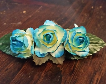 Delicate Blue Rose Hair Barrette-Valentine's Day Barrette- Any Occasion