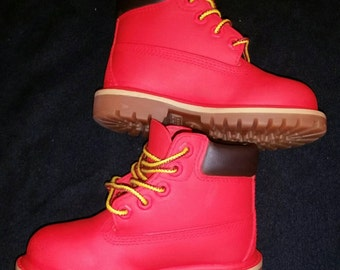 Red Timberland Boots- Custom Timberlands- Mens- Womens- Kids Timberlands