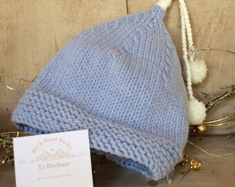 Blue and White Baby Pixie Hat with Pom Pom