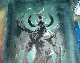 Illidan Spraypaint Stencil by Doudkine