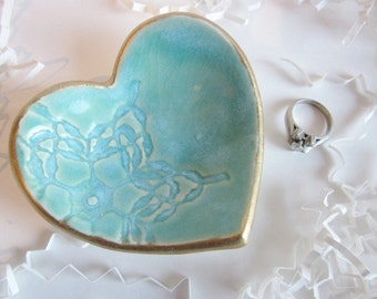 Unique Bridesmaid gift, Heart jewelry dish, edged in gold, Bridesmaid gift bag, Jewelry storage, party favor, wedding favor