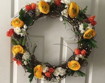 Spring Bloom Wreath with vibrant yellow and orange