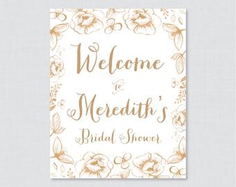 Gold Floral Bridal Shower Welcome Sign Printable - Garden Party Bridal Shower Customizable Sign - Gold Flowers Bridal Shower Decor 0027