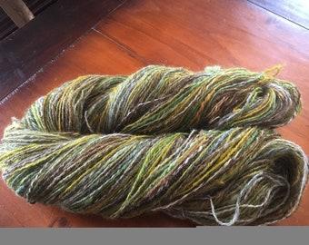 350 g of hand dies and spun Yarn
