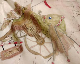 """Hand painted Silk scarf """"Mechanical fish"""""""