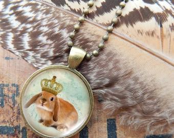 Lop Ear Rabbit Necklace, Lop Ear Bunny Pendant, King Bunny Jewelry, Rabbit Jewelry, Brown Rabbit Necklace