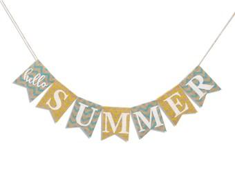 Hello SUMMER Burlap Banner Summer Bunting Summer Garland Home Decor Summer Decor Rustic Summer Photo Prop Summer Sign Pool Party Summer