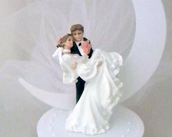 Wedding Reception Groom Holding Bride Half Moon Cake Topper White