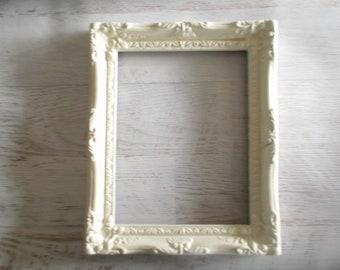 Ornate Open Frame, Farmhouse Frame, Shabby White Wall Frame, No Glass