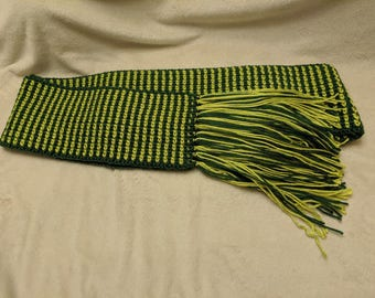 Green striped Crochet Scarf