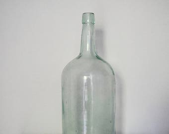 Large Teal Glass Vintage Bottle
