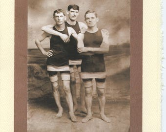 Beach Boys: Vintage Gay LGBTQ+ Card - poly boyfriends photo card, brothers card, summer birthday card, vintage bathing suits, bachelor card