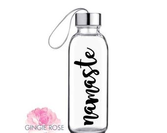Namaste Glass Water Bottle/Yoga/ Workout Water Bottle/peaceful Bottle/Spiritual Bottle/Zen/