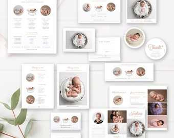 Newborn Photography Marketing Set, Newborn Photographer Branding, Pricing Guide, Trifold Brochure, Mini Sessions - INSTANT DOWNLOAD