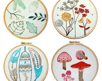 Embroidery stitch samplers. Multi buy. Embroidery tutorial. Nature hoop art. Beginner embroidery kit. Learn how to embroider