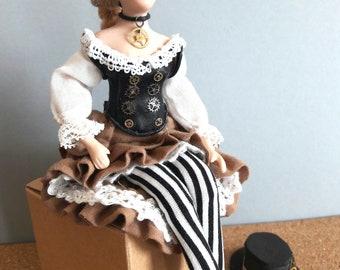 Peony Pinkerton, OOAK 1:12 scale steampunk dollshouse doll