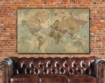 Push Pin Travel Map of World - Single Panel, Vintage Map, Push Pin Map, Travel Gifts, World Map Canvas Large Wall art, Gifts for Travelers