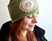 Pistachio Cashmere Headband with Doily Detail (upcycled)