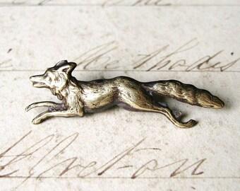 Run Fox Run - Antiqued Brass Running Fox Brooch, Lapel Pin or Tie Tack Tie Pin with Gift Box