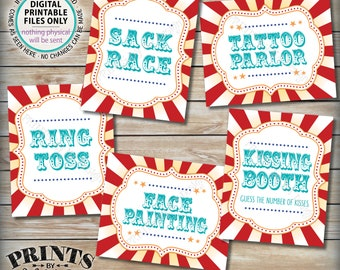 """Carnival Games, Carnival Theme Party, Circus Theme Activities, Ring Toss, Tattoo, Painting, Teal/Turquoise PRINTABLE 8x10/16x20"""" Signs <ID>"""