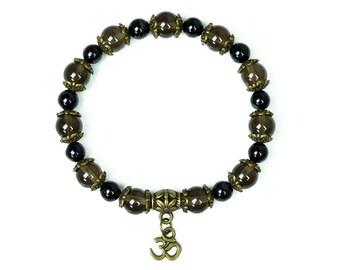 Ladies Smokey Quartz Bracelet with Black Tourmaline for Protection & Grounding | Om Bracelet Yoga Jewellery Protection Bracelet Boho Gift