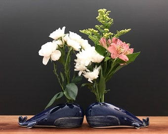 whale vase / bud vase / bright blue whale / one whale