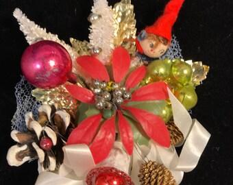 Vintage 1960s Christmas Spun Cotton Elf Corsage Pine Cone Bottle Brush Tree