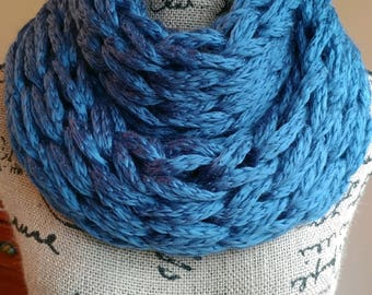 Beautiful Blue Double Infinity Scarf/Cowl/Arm Knit Scarf/Chunky Scarf/Circle Scarf