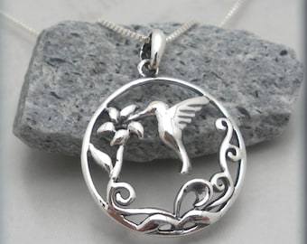 Hummingbird Necklace, Hummingbird Jewelry, Bird Necklace, Flower Jewelry, Nature Jewelry, Sterling Silver