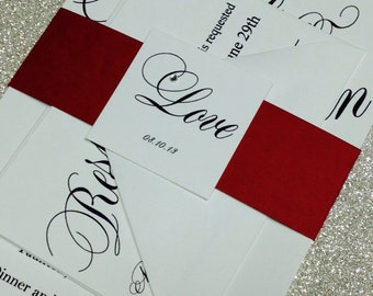 scripted elegant wedding invitation, bat mitzvah or anniversary party