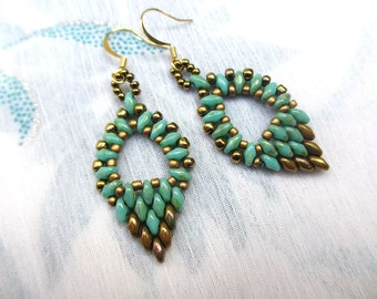 Turquoise and gold duo earrings