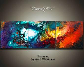 Large abstract art, triptych wall art, fine art giclee prints from my fluid painting Heavenly Fire, inspirational art, spiritual art