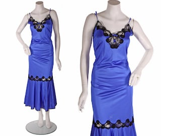 1970s Electric Blue Nylon and Black Lace Spaghetti  Strap Lingerie Gown -S