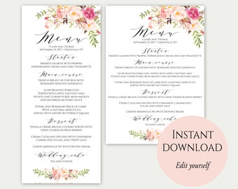 Wedding Menu Template, 5x7, 4x9, Wedding Menu Cards, Menu Cards, Editable Menu, Menu Card Template, Floral Menu, Party Menu, Printable, C1