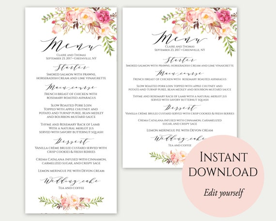 Wedding Menu Template X X Wedding Menu Cards Menu
