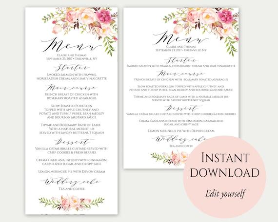 wedding menu template 5x7 4x9 wedding menu cards menu. Black Bedroom Furniture Sets. Home Design Ideas
