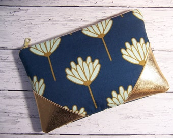 Blue and gold simple clutch,zipper bag ,pouch,travel bag,pencil case,college kid,project bag,women's gift,cosmetic bag,make up