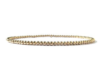 14k gold filled beaded bracelet for women / gold stackable stretch bracelets / women delicate timeless bracelet