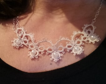 Tatted wedding necklace, lace wedding necklace, lace necklace, tatted necklace