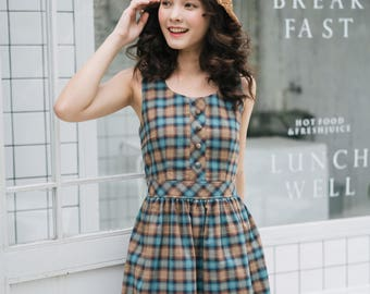 Summer Dress Plaid Dress Blue Brown Vintage Style Sundress Swing Dance Dress Checker Dress Henley Dress Tea Party Holiday Casual Look