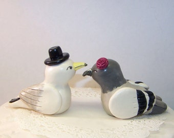 Seagull and Pigeon Wedding Cake Topper Love Birds Cake Topper- Customizable